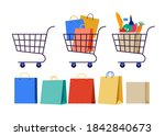 collection of shopping carts.... | Shutterstock .eps vector #1842840673