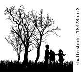 vector silhouette of children... | Shutterstock .eps vector #184285553