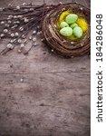 Easter Card  Eggs In Nest On...