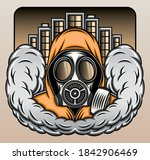 gas mask with smoke in the city....   Shutterstock .eps vector #1842906469