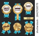 gold medal with blue ribbons... | Shutterstock . vector #1842928570