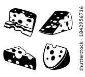 cheese vector set on isolated... | Shutterstock .eps vector #1842956716