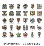 set of day of the dead thin... | Shutterstock .eps vector #1842961159