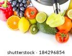 juicing machine  fresh fruits... | Shutterstock . vector #184296854