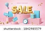 sale poster in 3d pastel... | Shutterstock . vector #1842985579