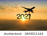 Silhouette Airplane With...