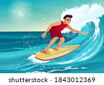 boy surfing. man swimming with... | Shutterstock .eps vector #1843012369