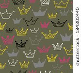 Crowns vector seamless pattern on pastel background. Vector illustration. Endless pattern. Use for wallpaper, pattern fills, web page background.