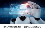 robot humanoid hold hud...