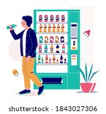 young man drinking water he has ...   Shutterstock .eps vector #1843027306
