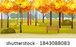 autumn park landscape yellow... | Shutterstock .eps vector #1843088083