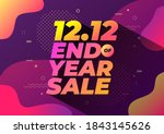 12.12 end of year sale banner.... | Shutterstock .eps vector #1843145626