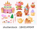 big set.  andy city with cake... | Shutterstock .eps vector #1843149049