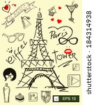 i love paris  with eiffel tower  | Shutterstock .eps vector #184314938