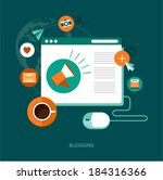 vector blogging concept... | Shutterstock .eps vector #184316366