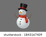 Snowman Wearing  Hat And Scarf...