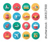 Collection of flat icons which contains illustrations of major land, air and sea vehicles.