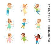cute boys and girls blowing...   Shutterstock .eps vector #1843178623