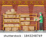 warehouse interior with goods ... | Shutterstock .eps vector #1843248769