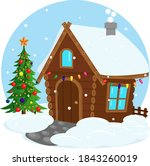 cute house in winter on... | Shutterstock .eps vector #1843260019