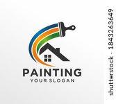 house painting logo design... | Shutterstock .eps vector #1843263649