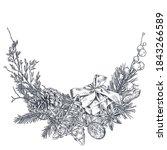 vector christmas floral... | Shutterstock .eps vector #1843266589