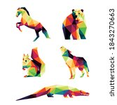 wild animal set in colorful...   Shutterstock .eps vector #1843270663
