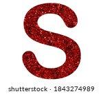 S Letter Red Logo  Glitter...