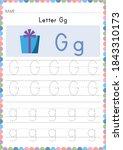 alphabet tracing worksheet.... | Shutterstock .eps vector #1843310173
