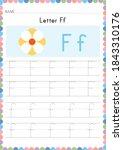 alphabet tracing worksheet.... | Shutterstock .eps vector #1843310176