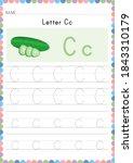 alphabet tracing worksheet.... | Shutterstock .eps vector #1843310179
