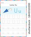 alphabet tracing worksheet.... | Shutterstock .eps vector #1843310200