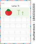 alphabet tracing worksheet.... | Shutterstock .eps vector #1843310203