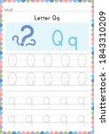 alphabet tracing worksheet.... | Shutterstock .eps vector #1843310209