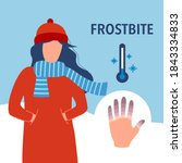 woman suffering from frostbite. ... | Shutterstock .eps vector #1843334833