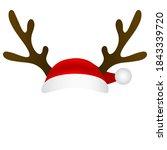 reindeer antlers and santa... | Shutterstock . vector #1843339720