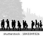 crowd of people silhouettes... | Shutterstock . vector #1843349326