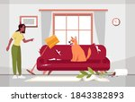 messy living room and naughty... | Shutterstock .eps vector #1843382893