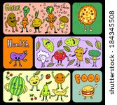 doodle funny food banners.... | Shutterstock .eps vector #184345508