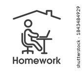 homework icon. simple linear...   Shutterstock .eps vector #1843484929