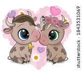 cute cartoon cow and bull on a... | Shutterstock .eps vector #1843531069