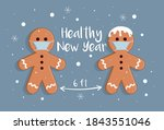 gingerbread man wishes merry... | Shutterstock .eps vector #1843551046
