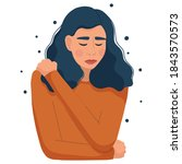 young woman depressed.... | Shutterstock .eps vector #1843570573