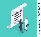 business arab partner. contract ... | Shutterstock .eps vector #1843594819