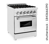Small photo of Freestanding Duel Fuel Gas Range Cooker Isolated on White. Stainless Steel Kitchen Stove Side Front View. 24 inch 2.8 Cu. Ft. Range with Baking Drawer & Four Burner Cooktop. Domestic Major Appliances