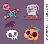 set of haloween illustrations.... | Shutterstock .eps vector #1843678786