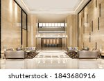 3d rendering grand luxury hotel reception hall entrance and lounge restaurant