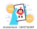 crisis hotline. need help  hand ... | Shutterstock .eps vector #1843736389