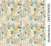 blooming meadow seamless... | Shutterstock .eps vector #1843740430