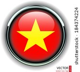 Vietnam flag button, yellow star on red background, modern shiny metallic abstract vector